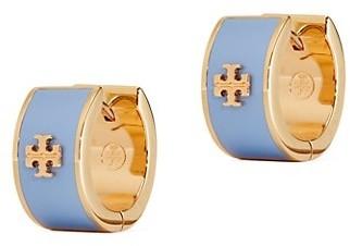 Tory Burch Kira Logo Enamel Huggie Earrings