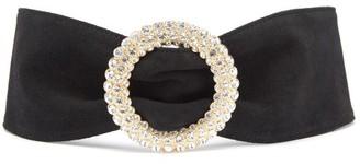 Alessandra Rich Crystal-buckle Suede Belt - Black