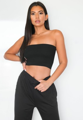 Missguided Black Rib Knitted Bandeau Top