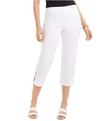 JM Collection Embellished-Cuff Capri Pants