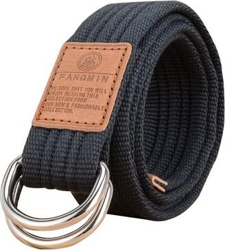 Zonfer 1pc Women Girl Canvas Belt Double D-ring Buckle Webbing Belt Adjustable Breathable Casual Dress Pants Waistband Belt