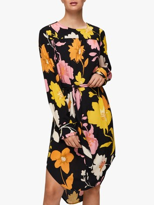Selected Cadence Dynella Floral Print Midi Dress, Black/Multi