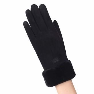 iHAZA Winter Outdoor Fleece Lined Gloves Women Faux Fur Mittens Full Finger Gloves