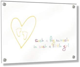 Camilla And Marc Feel Good Art Wall Mounted Acrylic Frame with Stand-Off Bolts (40 x 30 x 0.6 cm, Medium, Multicoloured, Such a Big Miracle in Such a Little Girl/Nursery Dècor)