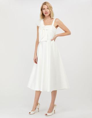 Under Armour Carrie Bridal Satin Bow Midi Dress Ivory