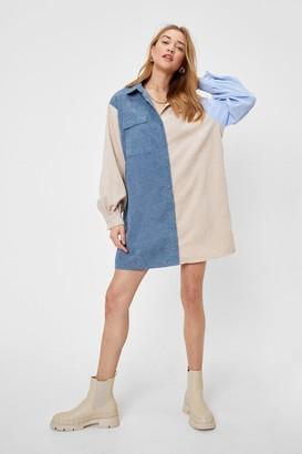 Nasty Gal Womens Colour Block Corduroy Shirt Dress - Baby Blue