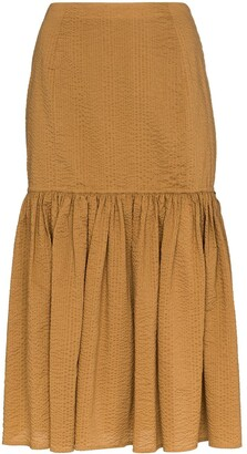 Marysia Swim Seersucker Midi Skirt