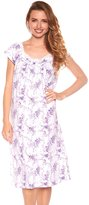 trulee Women Floral Print Cap Sleeve Lace Night Gown Pajama Sleepwear (1X, )