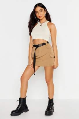 boohoo Micro Cargo Belted Mini Skirt
