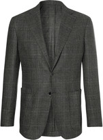 Drake's - Easyday Grey Prince Of Wales Checked Virgin Wool Suit Jacket