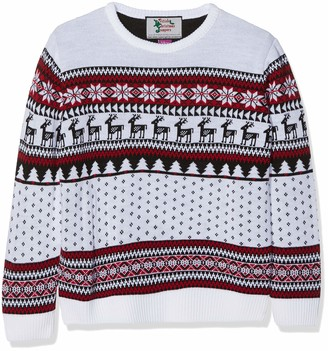 British Christmas Jumpers Kid's Classic Fairisle Christmas Jumper White Years (Size: 7-8)