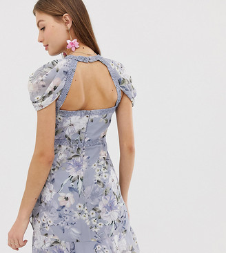 Forever New floral mini dress with laddering detail-Multi
