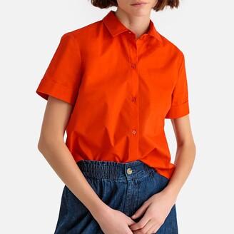 La Redoute Collections Short-Sleeved Cotton Boyfriend Shirt
