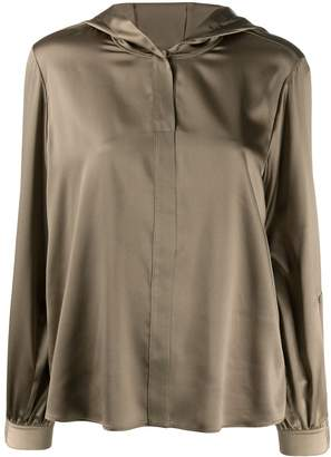Luisa Cerano hooded button front blouse