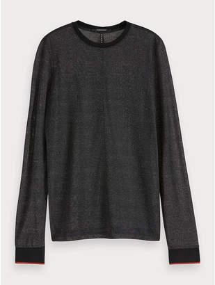 Maison Scotch Sheer Lurex T-Shirt Black - Size XS