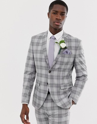 Jack and Jones slim fit suit jacket in gray check