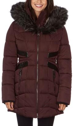 Nicole Miller Women's Faux-Fur Hood Fitted Puffer Coat