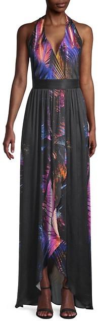 Balmain Palm-Print Silk Halter Dress