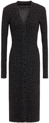 Enza Costa Metallic Ribbed-knit Dress