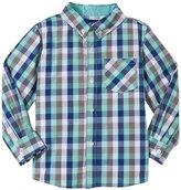 Andy & Evan Gingham Shirt (Toddler/Kids) - Light Green 7 Years