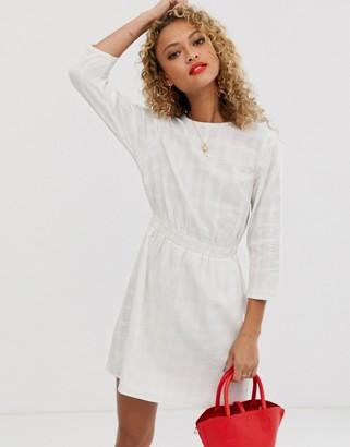 Asos Design DESIGN casual elasticated mini dress in texture-White