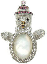 Judith Ripka Sterling Diamonique Snowman Pin