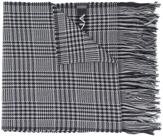 Dolce & Gabbana Wool Check Scarf With Logo