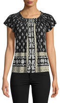 Style And Co. Petite Printed Pleat Neck Blouse