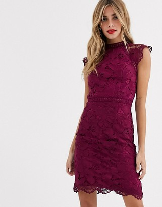 Chi Chi London lace pencil dress in mulberry