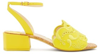 Sophia Webster Cassia Embroidered Leather Sandals - Yellow