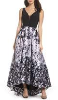 Xscape Evenings Print Skirt High/Low Gown