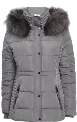 Wallis PETITE Grey Short Quilted Coat