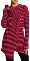 Andrew Marc Striped Cowl Neck Wrap Tee