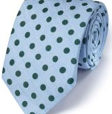 Charles Tyrwhitt Sky and green linen classic chambray tie
