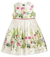 Oscar de la Renta Toddler's & Little Girl's Botanical Border Mikado Pinafore Dress