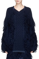 Sacai Fringed cable knit sweater