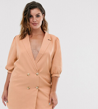 In The Style Plus puff sleeve tuxedo blazer dress in taupe-Brown
