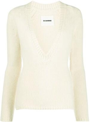 Jil Sander deep V-neck knitted sweater