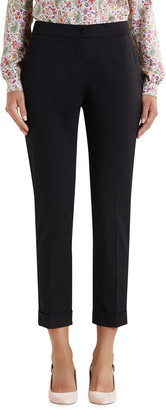 Etro Stretch Cotton Cuffed Solid Capri Pants