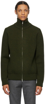 Maison Margiela Green Wool Cardigan Stitch Zip Up Sweater