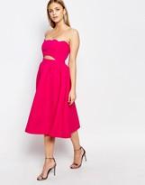 Boohoo Scallop Edge Prom Dress