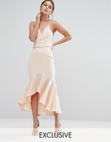 Jarlo Wrap Front Midi Dress with Frill Hem