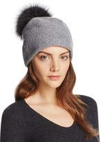 Helene Berman Wool Slouch Beanie with Fox Fur Pom-Pom
