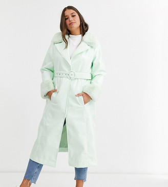 Asos DESIGN Curve high shine faux fur collar trench coat in mint-Purple