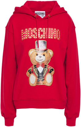 Moschino Glittered Printed French Cotton Terry Hoodie