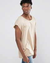 Asos Super Oversized Sleeveless T-Shirt With Raw Edge And Scoop Neck In Beige