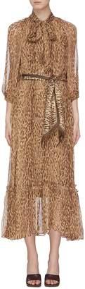 Zimmermann 'Espionage' belted leopard print silk georgette pussybow dress
