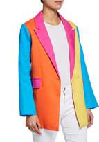 All Things Mochi Iris Colorblock Two-Button Linen Blazer