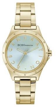 BCBGeneration Ladies 3 Hands Gold-Tone Stainless Steel Bracelet Watch, 34 mm Case