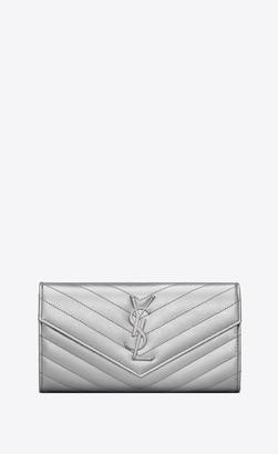Saint Laurent Monogram Slg Large Monogram Wallet In Grain De Poudre Embossed Leather Silver Onesize